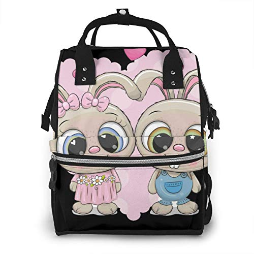 UUwant Sac à Dos à Couches pour Maman Large Capacity Diaper Backpack Travel Manager Baby Care Replacement Bag Nappy Bags Mummy Backpack,(Rabbits Boy and Girl on A Heart Background