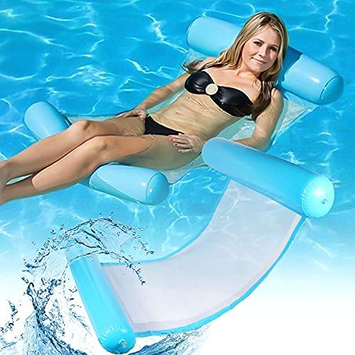 Uppblåsbar simsäng, uppblåsbart vatten hängmatta badsäng, luftmadrass pool uppblåsbar hängmatta, bärbar 4-i-1 loungefåtölj poollounge, för vuxna och barn (blå)