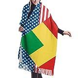 Bufanda de mantón Mujer Chales para, Mujeres Hombres Bandera de Estados Unidos y el Congo Bufanda de cachemira Bufanda de abrigo de chal suave Bufandas cálidas y acogedoras de invierno