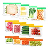 Reusable Storage Bags for Food-12 Pack BPA Free(4 Sandwich Bags & 4 Snack Bags & 4 Lunch Bags) EXTRA THICK Leakproof Freezer Bags for Food, Travel, Storage & Home Organization