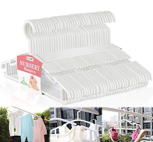 Homewit 36-teilig Babykleiderbügel, Kinder Kleiderbügel Kunststoff Kleiderständes für Baby, Kleinkinder, Kleinkinderkleidung, Kleiderschrank, 27cm Länge, Weiß