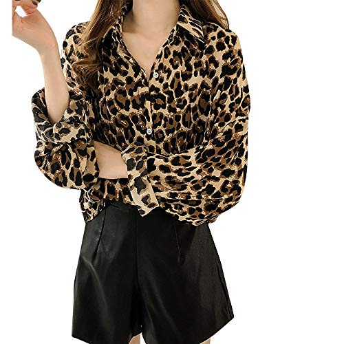 OSYARD Damen Hemd Oberseiten Pullover Sweatshirt, Frauen Tunika Oberteile Langarm Umlegekragen Kleider Strickpullover Leopard Drucken Große Größe Lang Tops Bluse T-Shirt (L, Gelb)