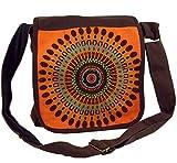 GURU SHOP Schultertasche, Hippie Tasche, Goa Tasche - Braun/orange, Herren/Damen, Baumwolle, Size:One Size, 25x25x7 cm, Alternative Umhängetasche, Handtasche aus Stoff