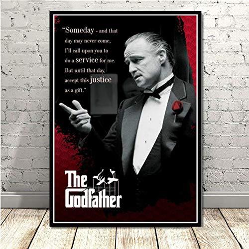 hllhpc Canvas Schilderij Poster De Godfather Marlon Brando Al Pacino Klassieke Film Gangster Art Schilderij Muur Foto's Voor Woonkamer