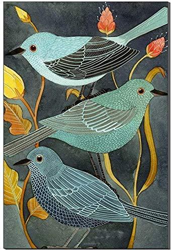 DINGDONG ART Lienzo De Impresión 30x50cm Sin Marco Impresiones póster Cuadros de Arte de Pared Modular decoración Moderna para el hogar pájaros Abstractos Coloridos