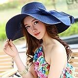 女の子のためのビーチハット大鍔折りたたみ可能な麦わら帽子夏の紫外線の保護海辺の太陽帽子 (色 : K k)