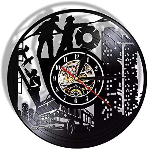 hhhjjj Bombero led Disco de Vinilo Reloj de Pared Estilo Retro Reloj Mudo decoración del hogar características de Arte únicas Accesorios para el hogar Regalos Personalizados creativos