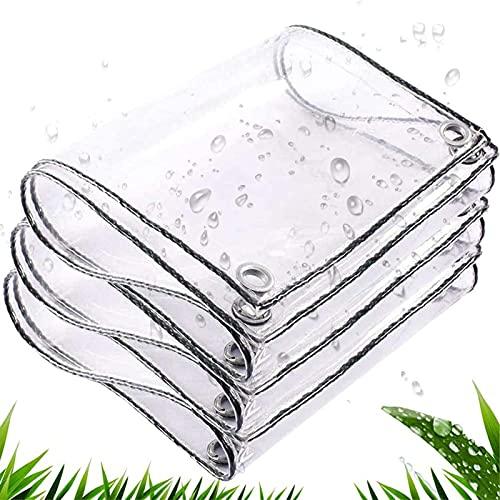 Lona Transparente Con Ojales,Lona Impermeable Transparente Resistente La Rotura Aislamiento Antienvejecimiento PVC Plástico Transparente Para Proteger Las Plantas,1 * 3M/3.3 * 9.8FT