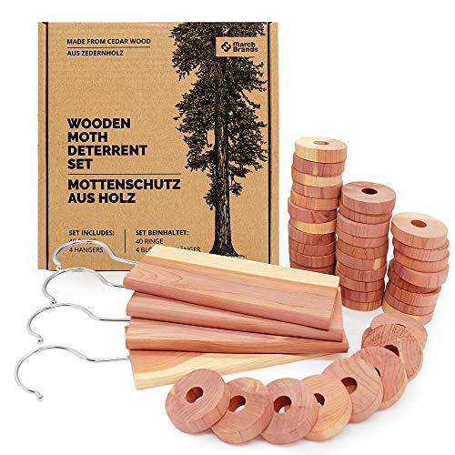 Natürlicher Mottenschutz aus Zedernholz - Mottenschutz für Kleiderschrank - gegen Kleidermotten - Kleidermotten bekämpfen - (40 Ringe) - (4 Block-Aufhänger) // March Brands