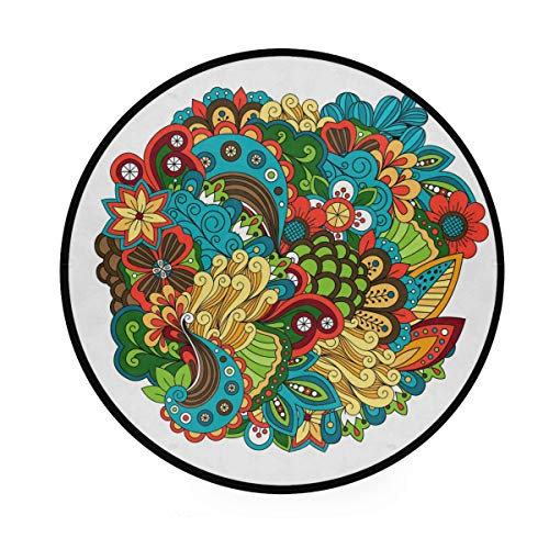 RunningBear Alfombra redonda de 91 cm – Alfombra redonda con patrón floral circular, lavable para cocina, dormitorio, sala de estar