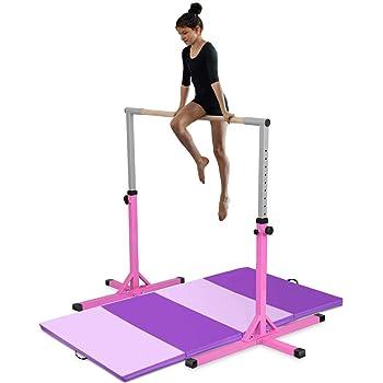 Costzon Junior Training Bar, Gymnastics Adjustable Steel Gymnastic Horizontal Bar with 4 ft Gymnastics Mat