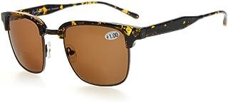 Eyekepper Mens Bifocal Sunglasses Semi-Rimless Brown Lens +2.0