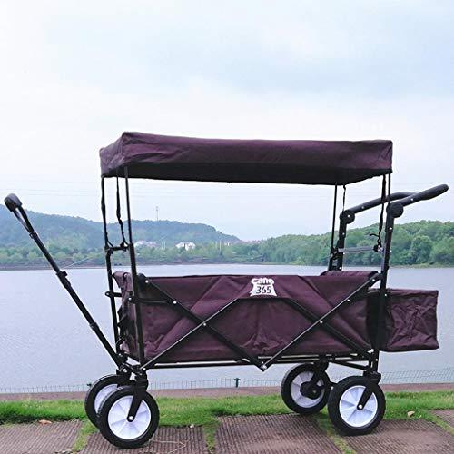 Einfache Idee Pure Color Outdoor Kinderwagen, Wochenend Camping Angeln Gepäckwagen, Haushalt Warenkorb, 120 Kg Last, T-C, Kaffeefarbe