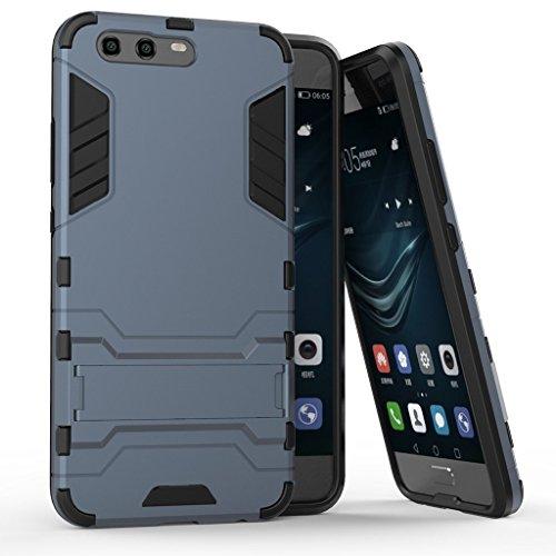 Hülle für Huawei P10 Plus (5,5 Zoll) 2 in 1 Hybrid Dual Layer Shell Armor Schutzhülle mit Standfunktion Hülle (Blau Schwarz)