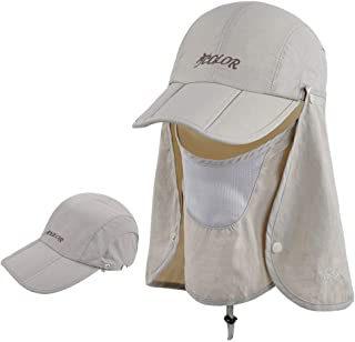 Sun Cap Fishing Hats with Face Mask Outdoor Sun Protection Visor Caps with Windproof Neck Face Mask Visors Flap Cover