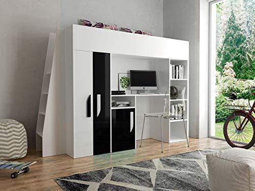 *Etagenbett für Kinder PARTY 15 Stockbett mit Treppe und Bettkasten KRYSPOL (Weiß + Schwarzer Glanz)*