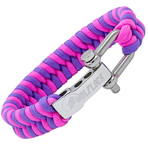 WOLFLOCK | Paracord Armband | Outdoor Survival Armband | Schwarz, Braun, Grün, Schwarz/Weiß | Schnellverschluss Edelstahl | Geschenk für Männer | SURVIVALIST (Pink/Lila)