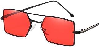 GRAZJ ミラーフラットレンズストリートホットファッション4スクエアメタルフレーム女性偏光屋外サングラス (版 ばん : Style F)