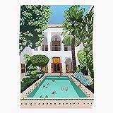 Riad Building Architecture Morocco Pool Marrakech Swimming El póster de decoración de interiores más impresionante y elegante disponible en tendencia ahora