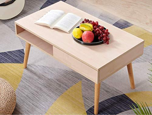 Perline ローテーブル センターテーブル 幅80cm 収納付きし コーヒーテーブル 引き出し付き リビングテーブル 長方形 天然木の脚 完成品 (ウッドカラー) on