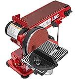 XtremepowerUS 2-in-1 Belt & Disc Sander Station (4' x 36' inch) Adjustable Table Belt Angle Sander Dust Port Tension Spring, Red