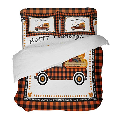 SUPERQIAO Lattice Car Carry Pumpkins and Turkey Thanksgiving Day 3 Pieces Duvet Cover Set with Decorative 2 Pillow Shams Bedspread Bed Sheets
