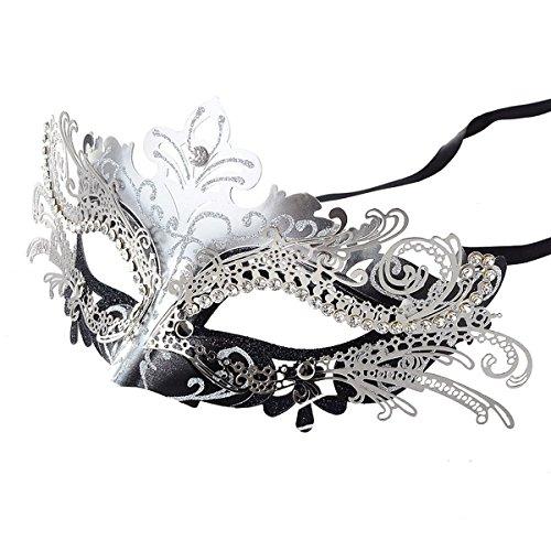 Coxeer Laser Cut Metal Lady Masquerade Halloween Mardi Gras Party Mask (Silver &...
