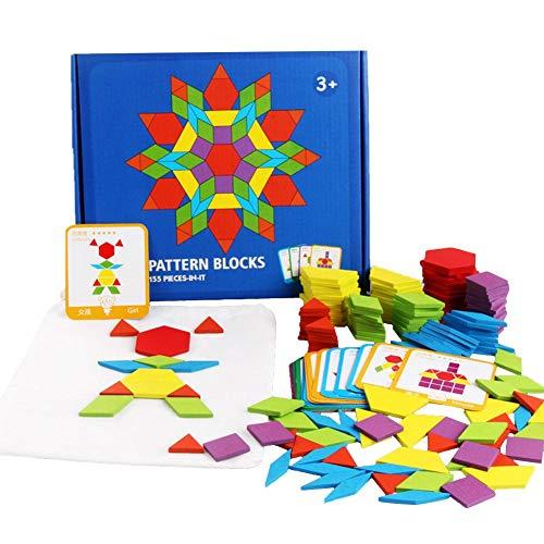 fridaymonga 155pcs Holzmusterblöcke Set, Klassische Frühe Lernspielzeug Geometrische Manipulative Form Puzzle Montessori Tangram Spielzeug Rätsel STEM Geschenk Für Kinder Mit Design-Karten