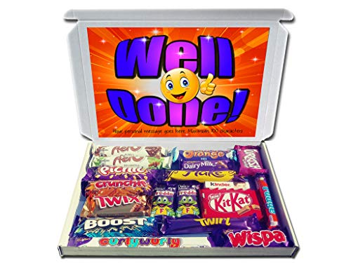 Personalised Well Done Gift Hamper Chocolate Selection Box Exams Driving Test Graduation Achievement etc.
