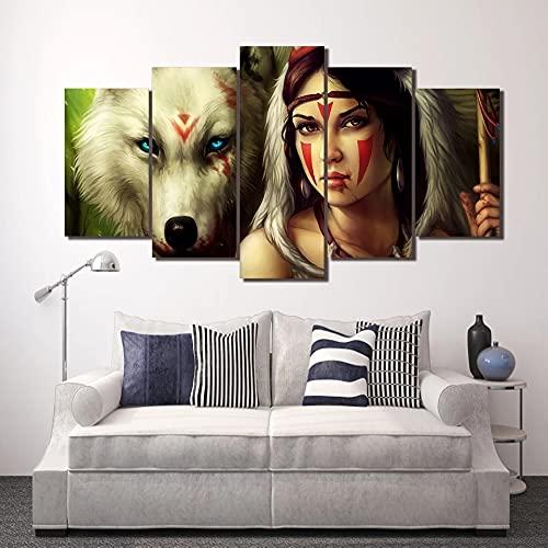 GUANGWEI 5 Piezas De Combinación De Lienzo De Alta Definición Moderno Lobo Blanco Y Hermosa Niña Murales De Oficina Sala De Estar Decoración De Dormitorio Habitación De Niños Regalos para El Hogar