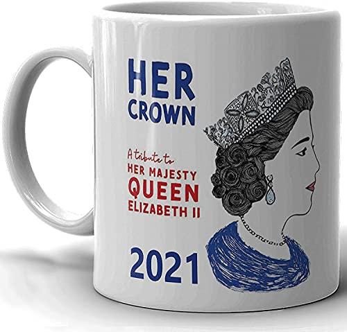SBLB Novelty Her Royal Majesty Queen Elizabeth II 2021 Taza de cerámica diseñada para café y té, 325 ml, regalo atractivo para familiares amigos para cumpleaños, viajes o cualquier otro día especial