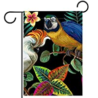 ガーデンフラグウェルカムバナーフラグヤードガーデン屋外装飾オールシーズンの垂直両面アートフラグ熱帯の鳥や植物