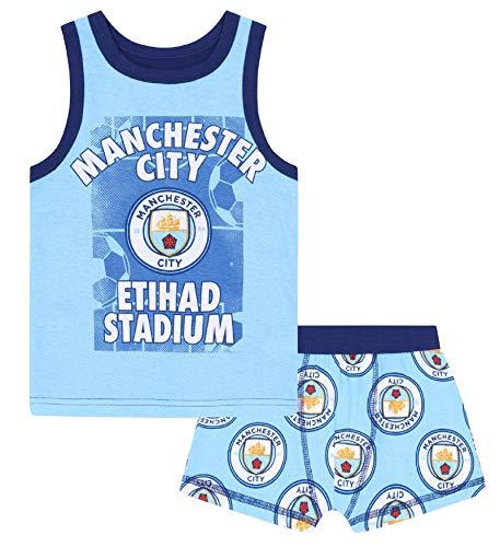 Manchester City FC - Jungen Unterwäsche - Boxershorts & Unterhemd - Offizielles Merchandise - Geschenk für Fußballfans - 8-9Jahre