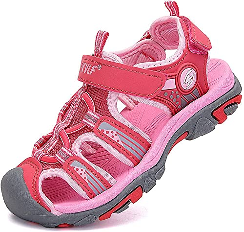 Sandalen Mädchen Sommer Klettverschluss Vorne Geschlossen Trekkingsandalen Kinder Schuhe Wasserfest Atmungsaktiv Rutschfest Strand Outdoor Pink Gr. 38