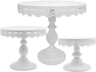 8 Inch / 10 Inch / 12 Inch Iron White Cake Stand Round Pedestal Dessert Holder Cupcake Display Rack Birthday Wedding Party Decoration 3PCS/set (White)