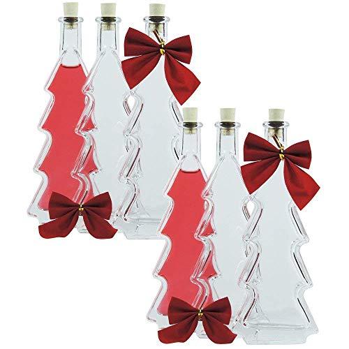 Viva-Haushaltswaren - 6 Tannenbaumflaschen / Weihnachtsflaschen 100ml inkl. Schleifen und Trichter
