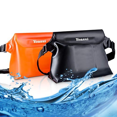 Yoassi 2 Pack Borsa Impermeabile Custodia Impermeabile Smartphone Marsupio Impermeabile Mare Universale con Cintura Regolabile Chiusura a 3 Zip Super Protezione per Sport Pesca Vela Nuoto Campeggio
