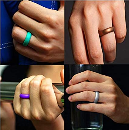 ZOUKFOX Colourful Thin and Stackable Silicone Rings Wedding Sports Bands-7 Pack //12 Pack Thick for Women and Men