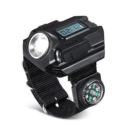 WAZA Armbanduhr mit LED-Taschenlampe, 100 lm, mit Kompass, inklusive Batterie und USB-Kabel, wasserdicht, tragbar, 3 Modi, für Camping, Wandern, Alltag, Radfahren