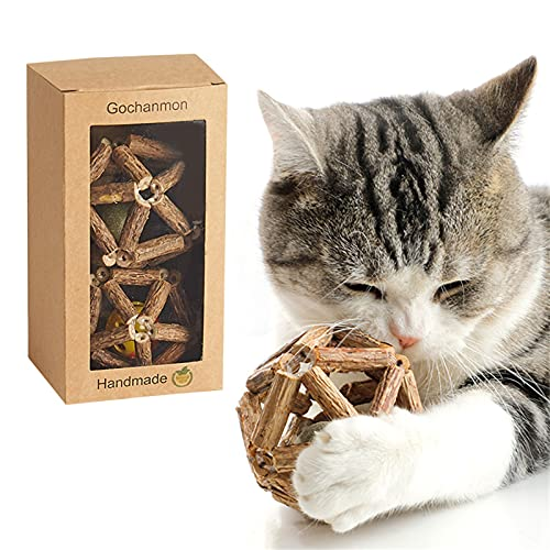 Gochanmon Catnip Toys-2Psc Natural Silvervine Stick Catnip Ball&Bell Ball-Cat Toys for Indoor Cats- Cleaning Teeth Molar Tools Matatabi Cat Chew Toy-Kitten Toys