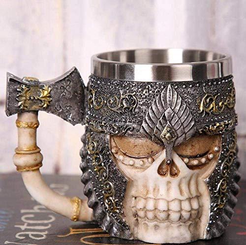 LUISONG FANMENGY - Taza de cerámica con diseño de calavera creativa con cuernos de Lord Trench Warrior Beer Stein, taza de café, taza de té, regalo para Halloween Bar