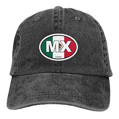 Gorra de béisbol ajustable con diseño de bandera de México, color negro