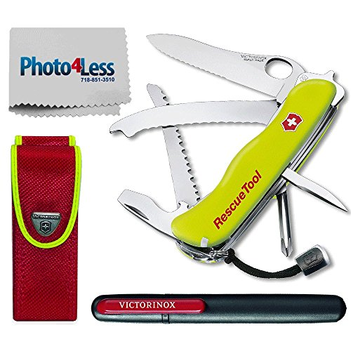 Victorinox Swiss Army Rescue Tool Pocket Knife Multi-Tool with Pouch + Victorinox Pocket Knife Sharpener + Cleaning Cloth - Fluorescent Yellow