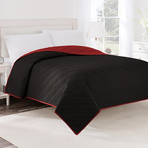Martex Reversible Coverlet, Twin, Ebony/Red
