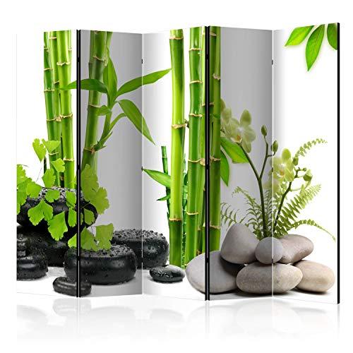 murando Raumteiler Foto Paravent Bambus grün 225x172 cm einseitig auf Vlies-Leinwand Bedruckt Trennwand Spanische Wand Sichtschutz Raumtrenner Home Office Zen Spa b-C-0230-z-c