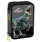 Jurassic World Federmäppchen für die Schule, mit 3 Reißverschlüssen, mit Schreibwaren, offizielles Lizenzprodukt