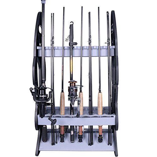 Croch 16 Fishing Rod Holder Storage Rack, Fishing Pole Stand Garage Organizer Holds Any Type of Rod or Hiking Sticks Keep It Steady