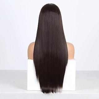Perruque Cheveux Bruns Raides Synthétiques Avant De Lacet Perruque Longue Fibre Résistante À La Chaleur Cheveux Perruques ...