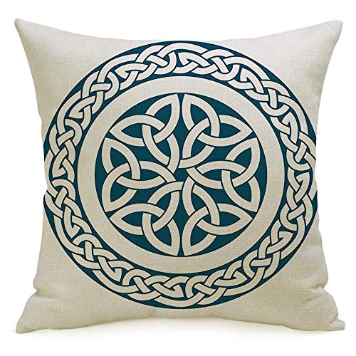 Decorative Linen Throw Pillow Cover Circular Celtic Feature Pattern Architecture Medieval Styleceltic Abstract Retro Knot04 Textures Cozy Cushion Covers 16 x 16 Inches for Bed Car Lving Room