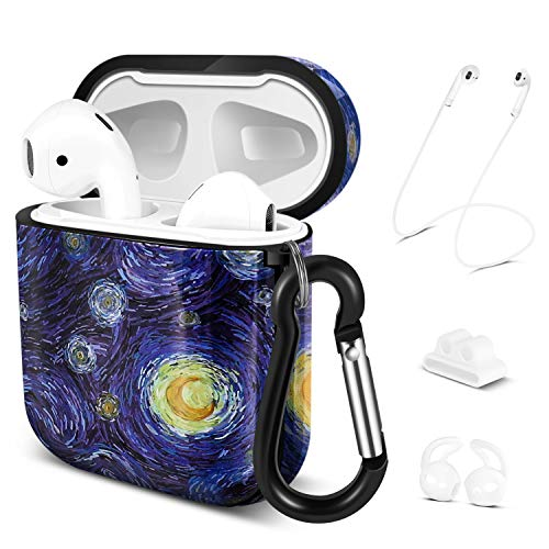 TNP Soft Protective Case Cover for Apple AirPods 1/2 Gen, Cute Skin w/Carabiner Clip Keychain Strap Ear Hook Accessories Compatible with Airpod 1st 2nd Generation Girl Women Men (Starry Night)